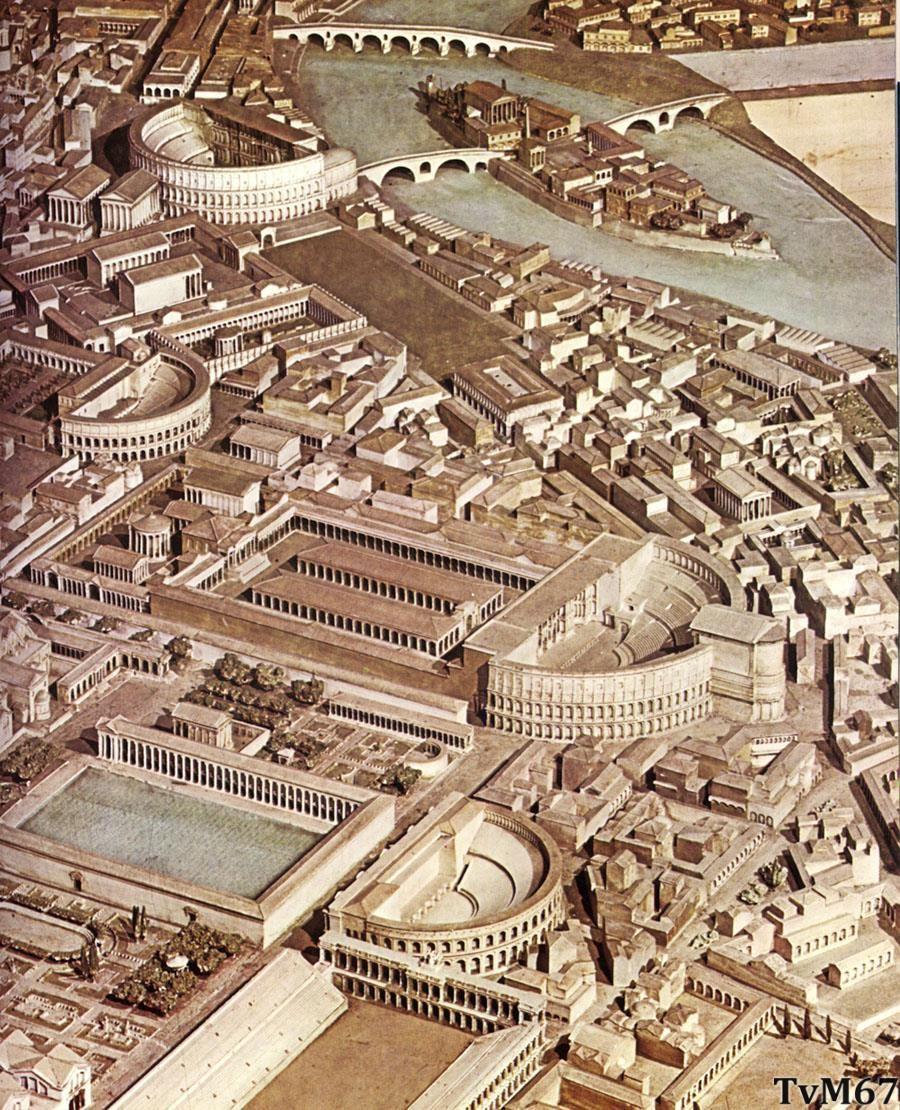 Maquette Rome met de situatie van ca. 300 n. Chr.