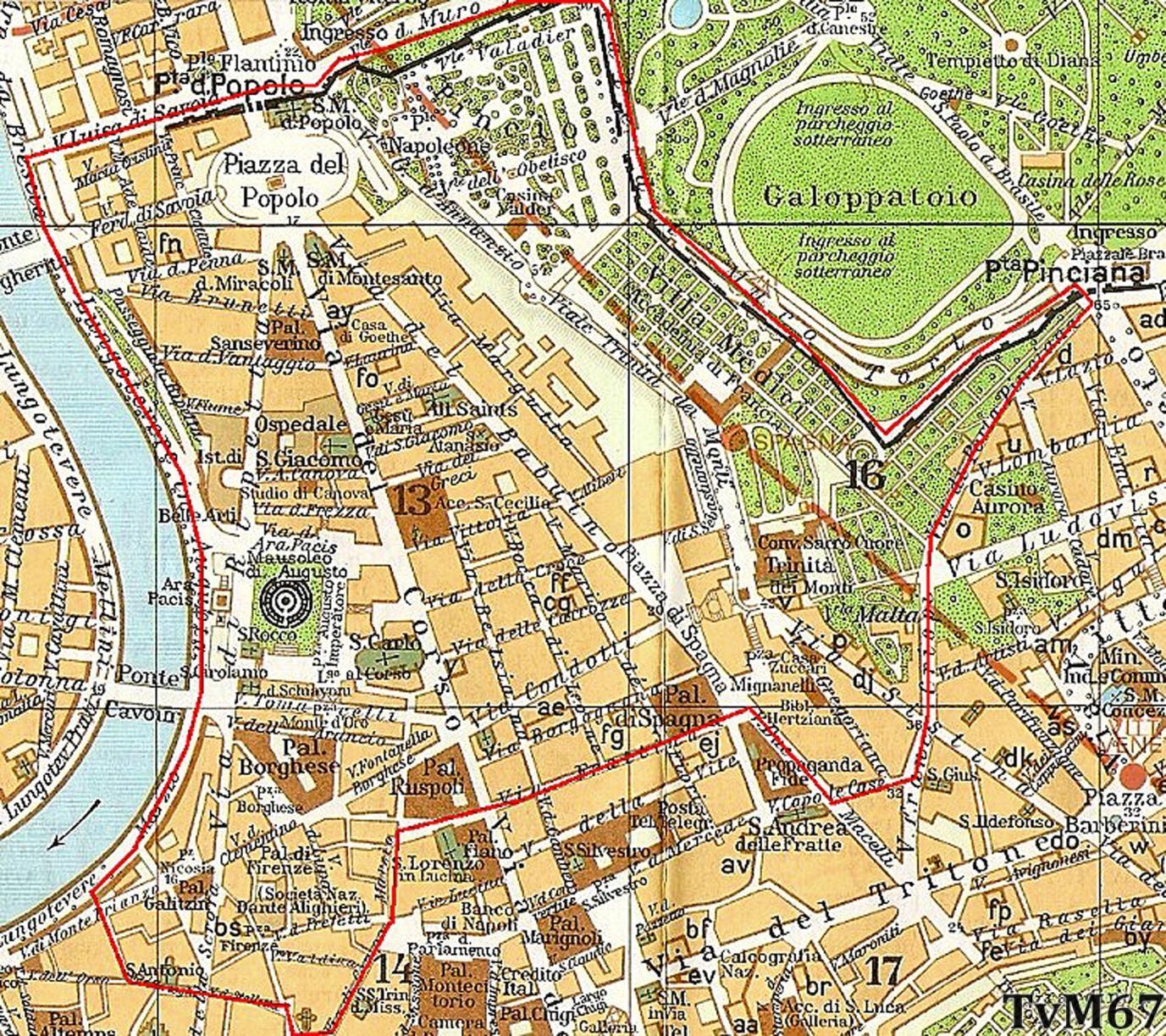 Rione di Campo Marzio, plattegrond