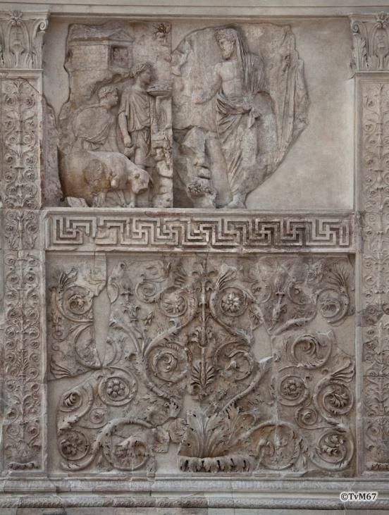 Voorzijde, Offer van Aeneas aan de penaten (boven)