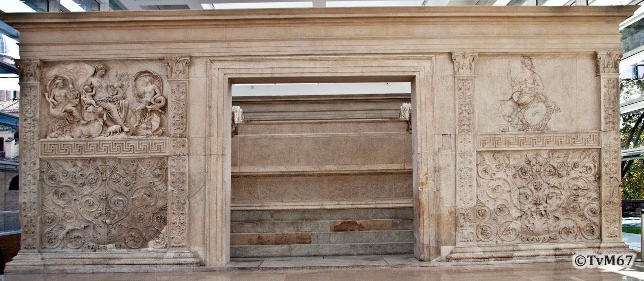 Achterzijde met linksboven Tellus en rechtsboven Roma