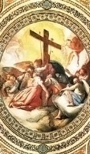 Cappella della Passione, Celio en Valeriani, apo- theose van de lijdenswerktuigen *