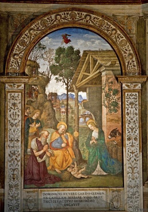 Chiesa di Santa Maria del Popolo - Cappella della Rovere, Pinturicchio, aanbidding van het Kind met Sint Hiëronymus
