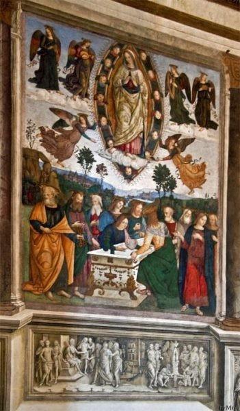 Chiesa di Santa Maria del Popolo - Cappella Basso della Rovere, School van Pinturicchio, Maria-Hemelvaart