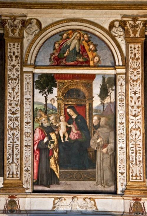 Chiesa di Santa Maria del Popolo - Cappella Basso della Rovere, School van Pinturicchio, Madonna met Kind en heiligen