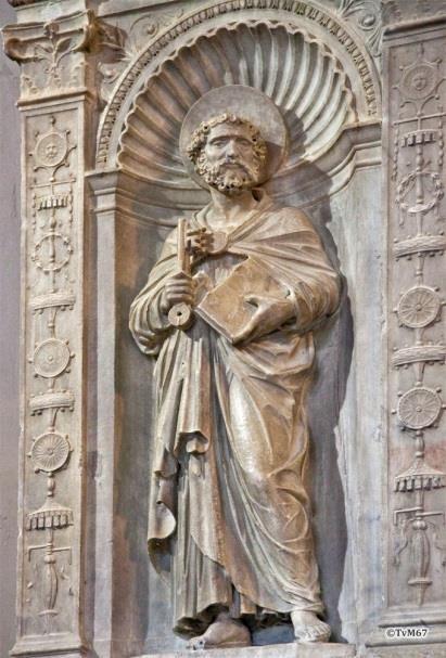 Chiesa di Santa Maria del Popolo-Sagrestia, Bregno, altaar, detail links