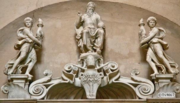 Apsis, Cappella Maggiore, monument van Sforza, detail linkse zijde