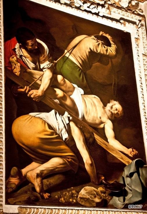 Chiesa di Santa Maria del Popolo-Cappella Cerasi, Caravaggio, kruisiging van Petrus
