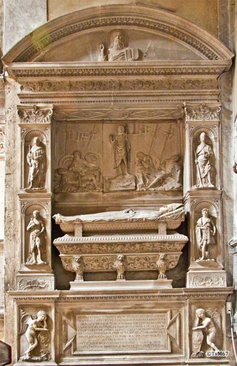 Chiesa di Santa Maria del Popolo /Linkse transept, School van Bregno, monument van Lonati