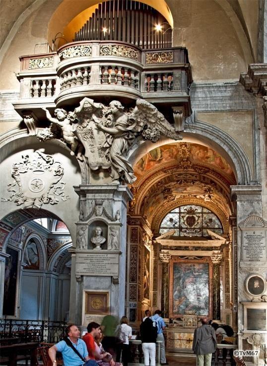 Chiesa di Santa Maria del Popolo-Linkse transept, Bernini e.a., orgeltribune