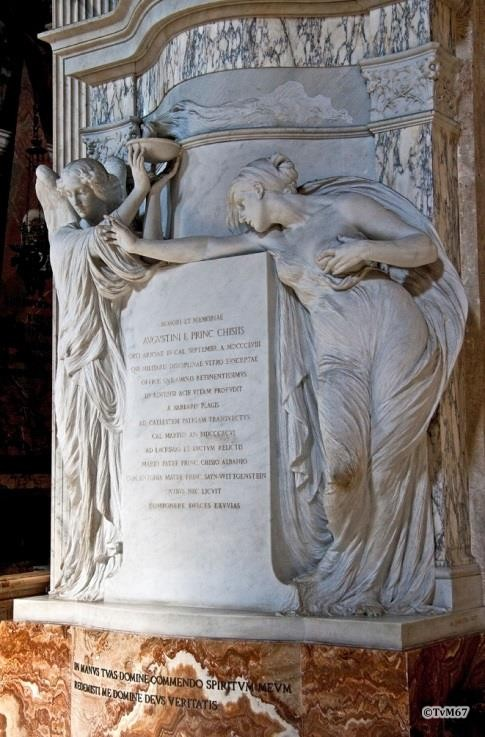 Tussen 2e en 3e kapel links, Apolloni, monument van Agostino Chigi