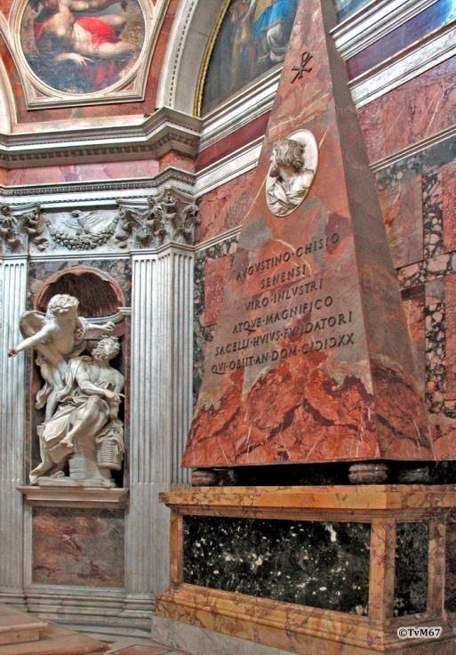 Cappella Chigi, Bernini, Habakuk en de engel en het monument van Agostino Chigi
