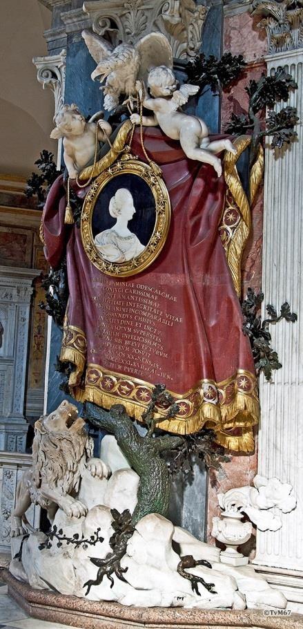 Tussen 1e en 2e kapel links, Posi en Penna, monument van prinses Maria Odescalchi