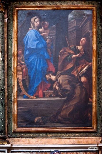 Cappella Montioni, Maratta, Madonna met Kind en de heilige Franciscus en Jacobus - Chiesa-di-St-Maria-di-Montesanto