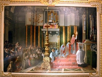 Commaodi, Ignatius draagt de mis op in Manresa