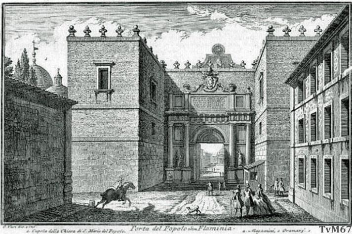 Buitenzijde van de Porta del Popolo met de twee verdedigingstorens (1750)