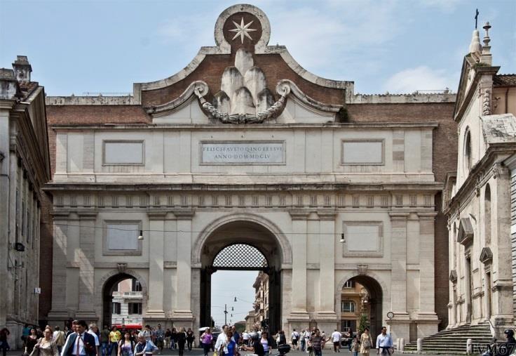 Porta del Popolo, binnenzijde