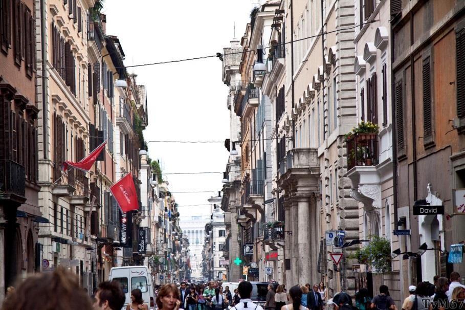 Via del Corso, gezien vanaf de Piazza del Popolo
