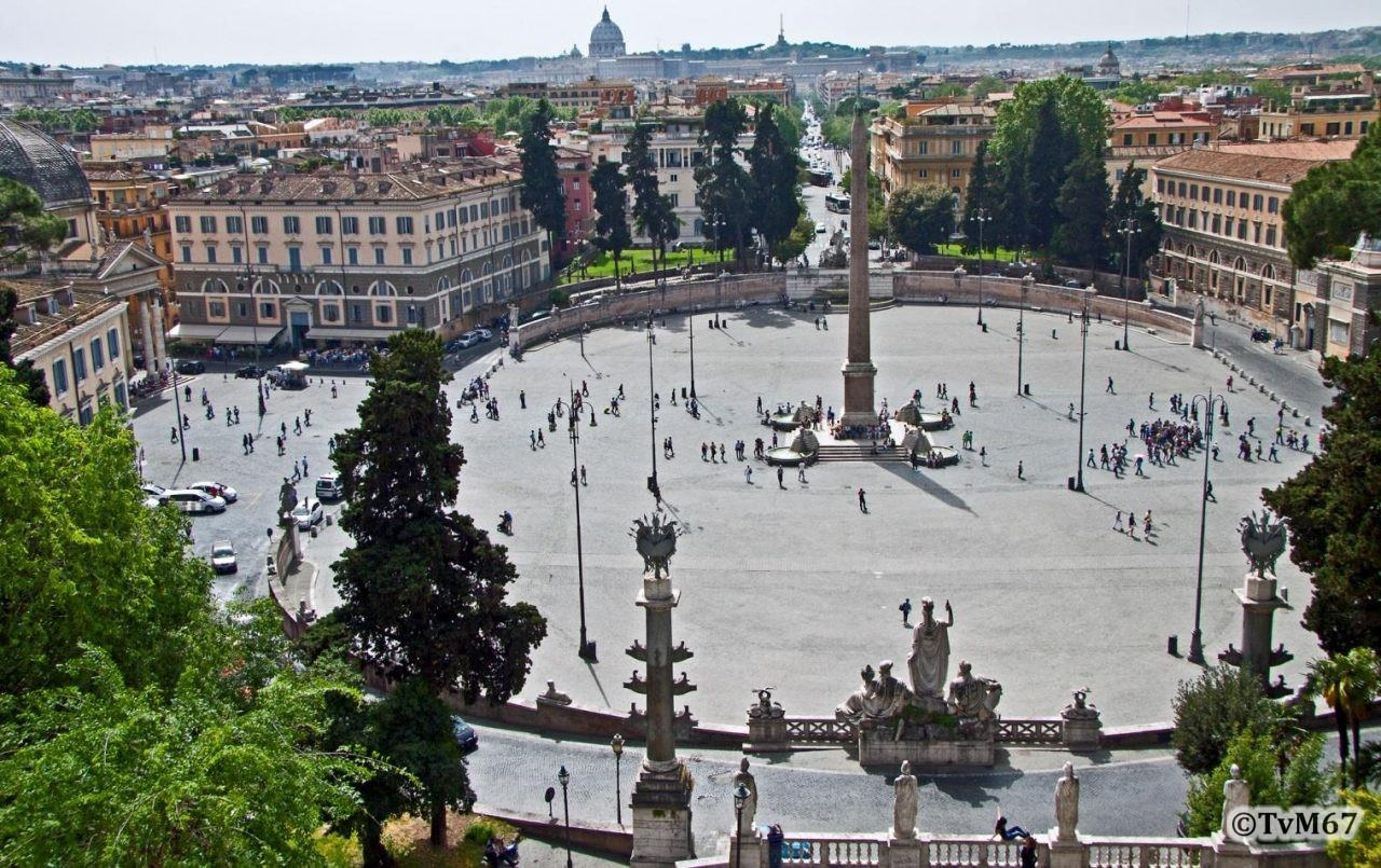 Pincio, Piazzale Napoleone I (Terrazza del Pincio), Uitzicht op de Piazza del Popolo