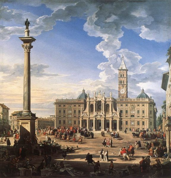 Roma, Basilica di Santa Maria Maggiore, Voorgevel, Pannini 1744 (internet)