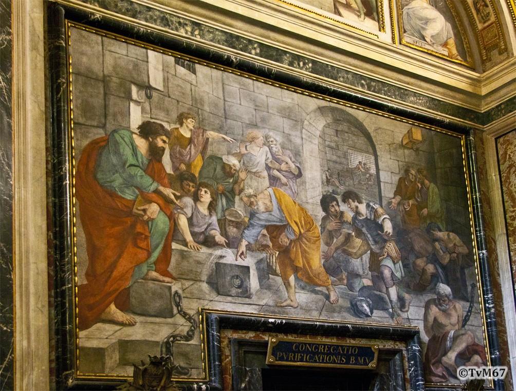 Roma, Chiesa del Gesù, 1e k li, Cap di San Francesco Borgia, Linkse wand, Mola, Petrus doopt in de Mamertijnse gevangenis, 2012