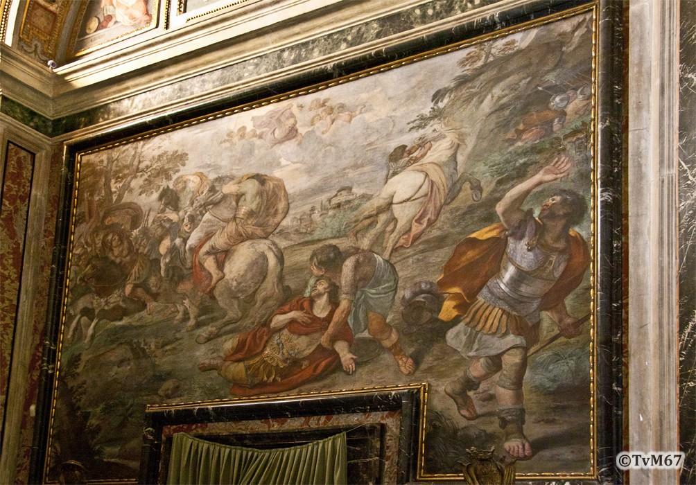 Roma, Chiesa del Gesù, 1e k li, Cap di San Francesco Borgia, Rechtse wand, Mola, Bekering van Paulus, 2012