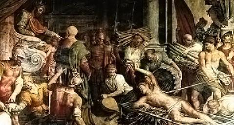 Roma, Chiesa del Gesù, 1e k re, Cap di Sant'Andrea Apostolo, Ciampelli, martelaarschap van S Stefanus en S Laurentius (internet)
