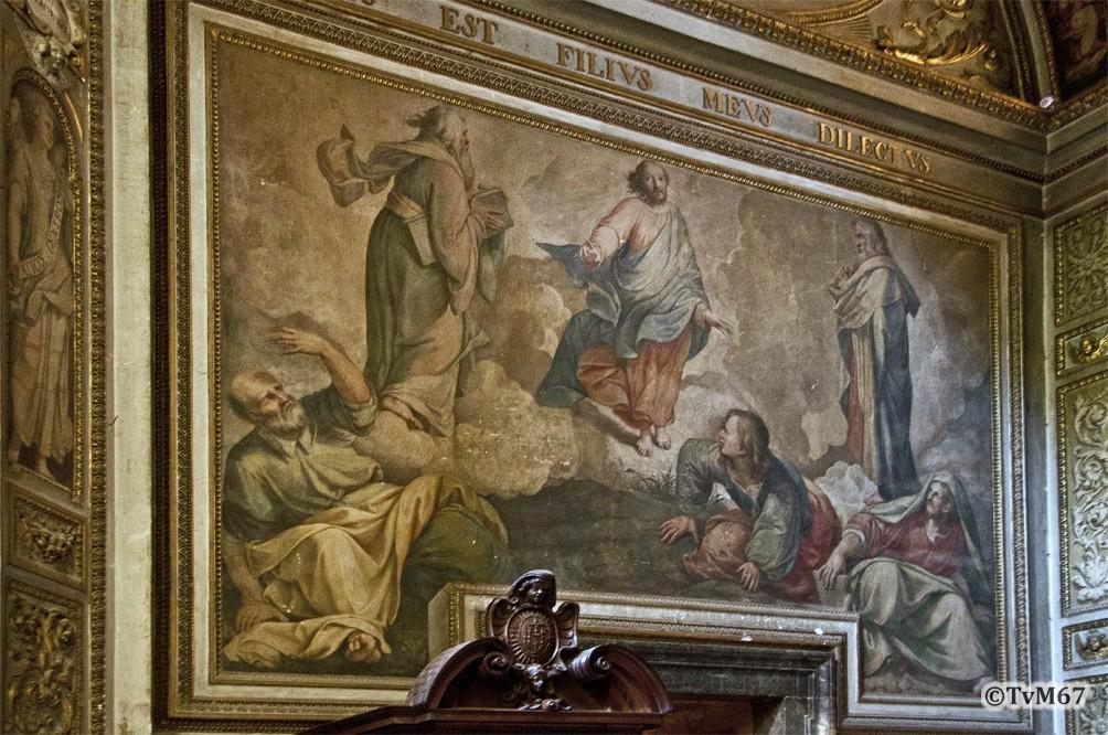 Roma, Chiesa del Gesù, 3e k li, Cap della SS Trinità, linkse wand, Alberti, Transfiguratie, 2012