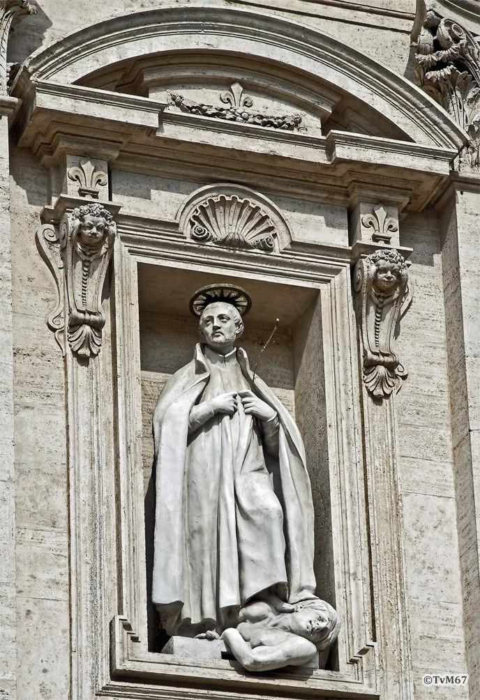 Roma, Chiesa del Gesù, Gevel, San Francesco Saverio vertrapt een ketter, 2011