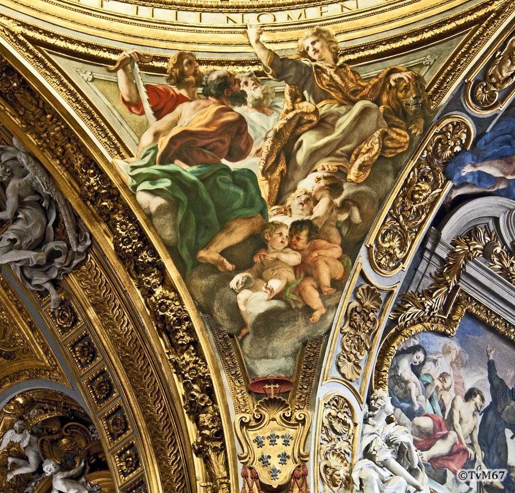 Roma, Chiesa del Gesù, Middenschip, Koepel, koepelpendentief 4, 2011
