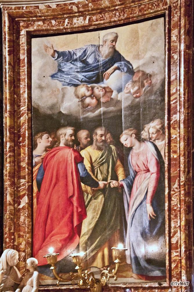 Roma, Chiesa del Gesù, koorkap li, Cap di Santa Maria della Strada, Valeriani, Huwelijk van Maria, 2012