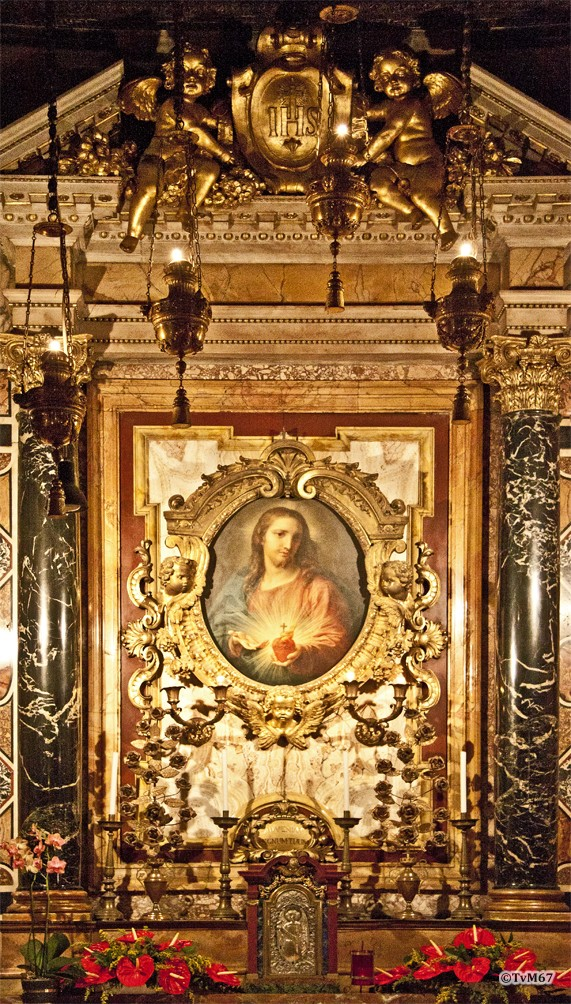 Roma, Chiesa del Gesù, koorkap re, Cap del Sacro Cuore, Battoni, Heilig Hart,