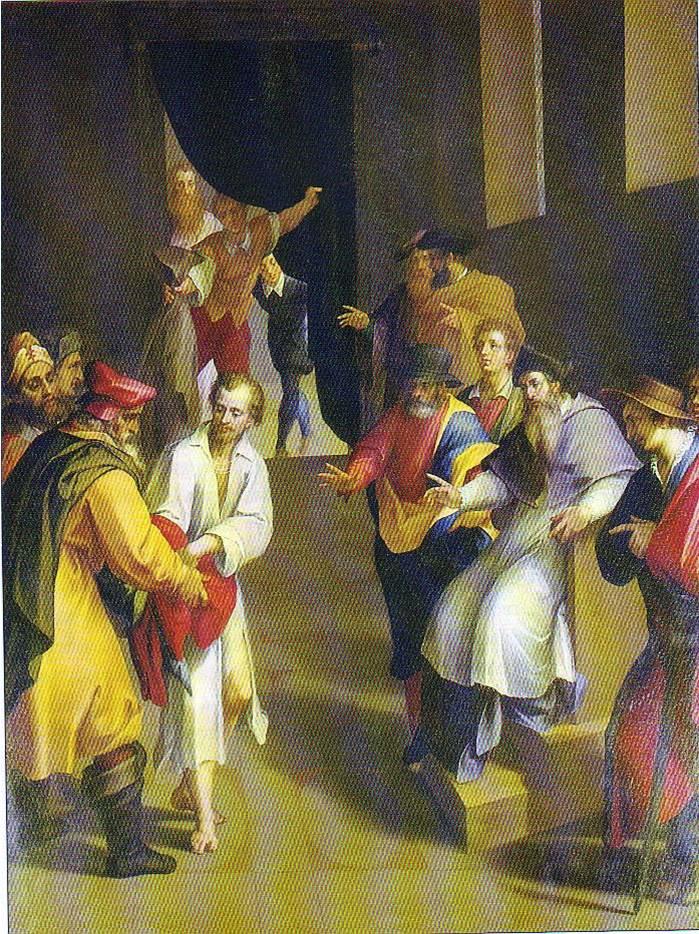Roma, Chiesa del Gesù, koorkap re, Cap del Sacro Cuore, Bril, S Franciscus doet afstand van zijn bezittingen (internet)