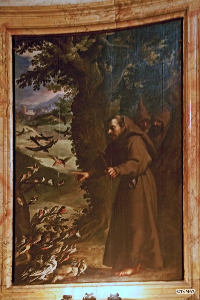 Roma, Chiesa del Gesù, koorkap re, Cap del Sacro Cuore, Bril, S Franciscus preekt voor de vogels, 2011