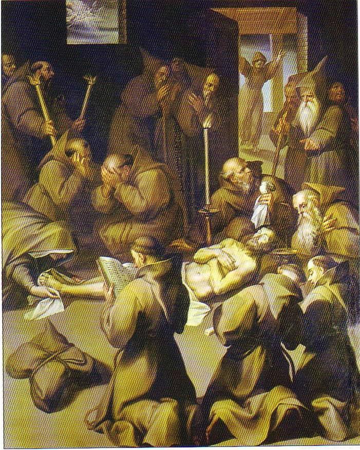 Roma, Chiesa del Gesù, koorkap re, Cap del Sacro Cuore, Bril, S Franciscus sterft liggende op de naakte aarde (internet)