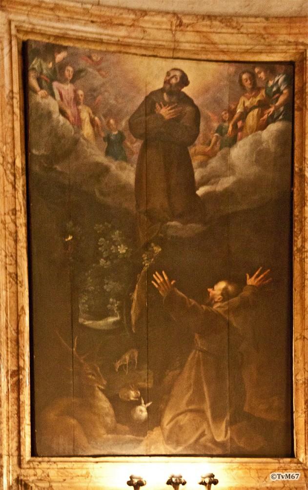 Roma, Chiesa del Gesù, koorkap re, Cap del Sacro Cuore, Bril, S Franciscus verschijnt aan de minderbroeders, 2012