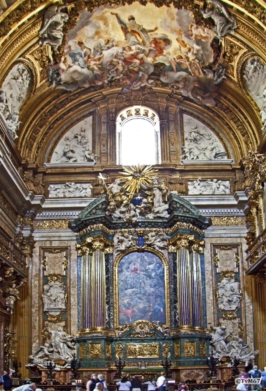 Roma, Chiesa del Gesù, trans li, Altare di Sant'Ignazio, Altaar, Altaarstuk gesloten, 2009