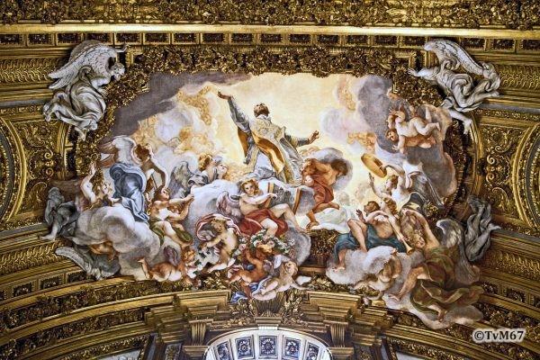Roma, Chiesa del Gesù, trans li, Altare di Sant'Ignazio, gwelfboog, Baciccio, Fresco