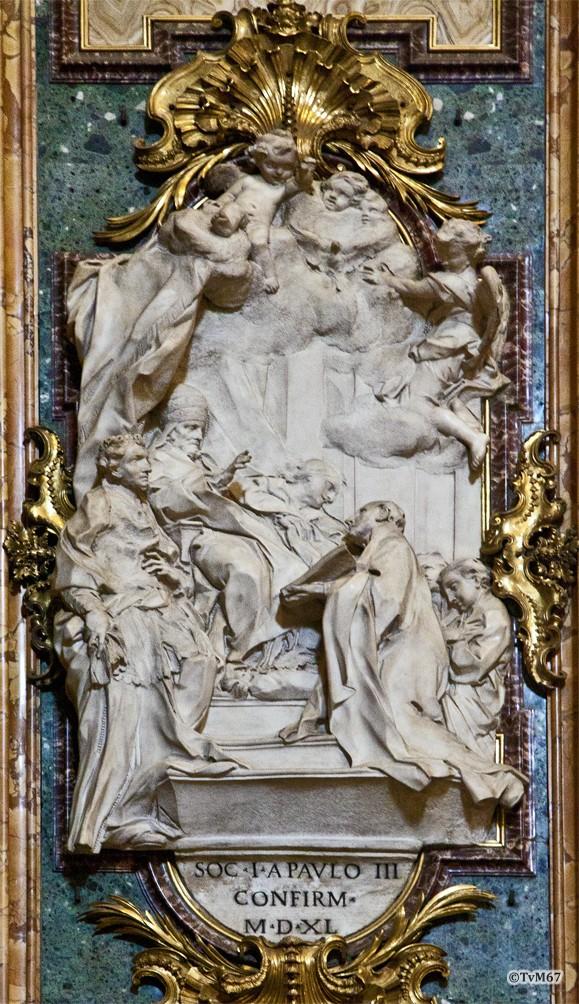 Roma, Chiesa del Gesù, trans li, Altare di Sant'Ignazio, li van altaar, Cametti, Heiligverklaring van Ignatius, 2012