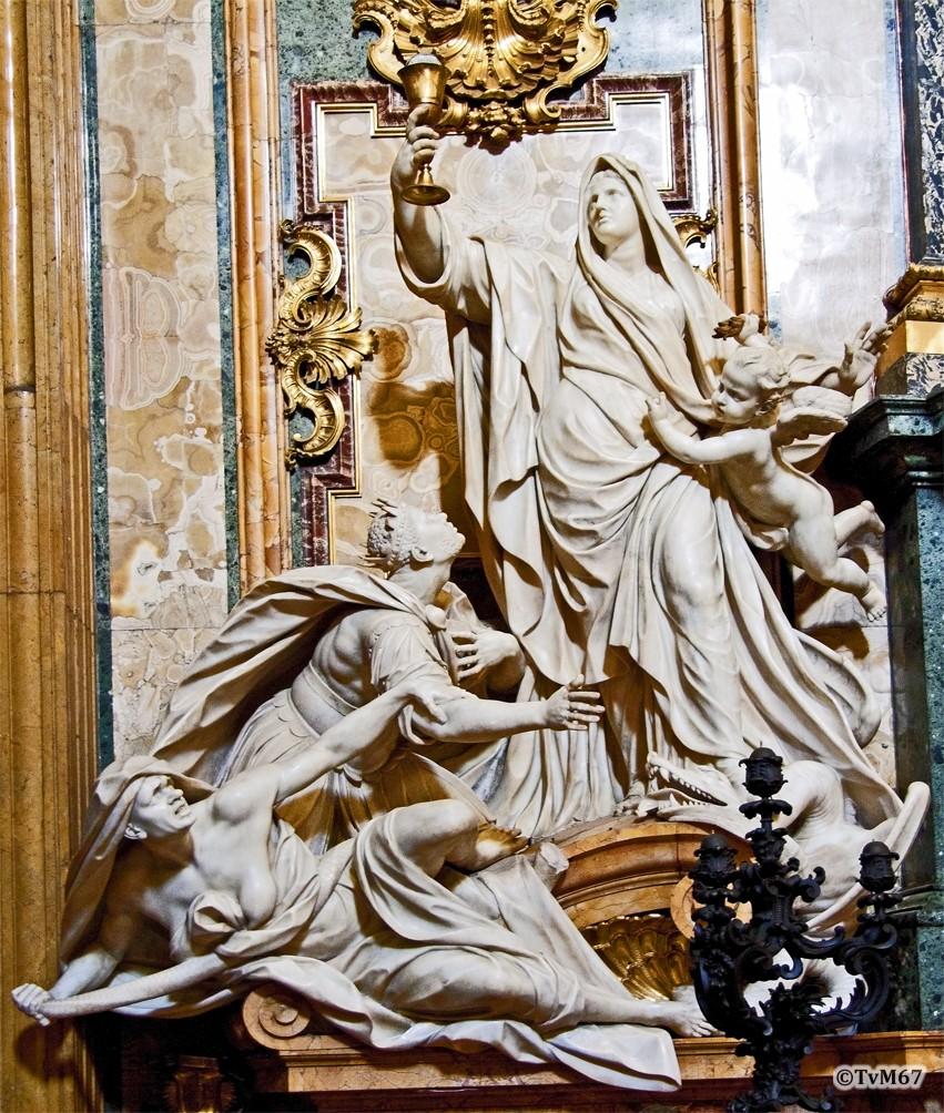 Roma, Chiesa del Gesù, trans li, Altare di Sant'Ignazio, li van altaar, Théodon, Geloof triomfeert over de afgodendienst, 2009