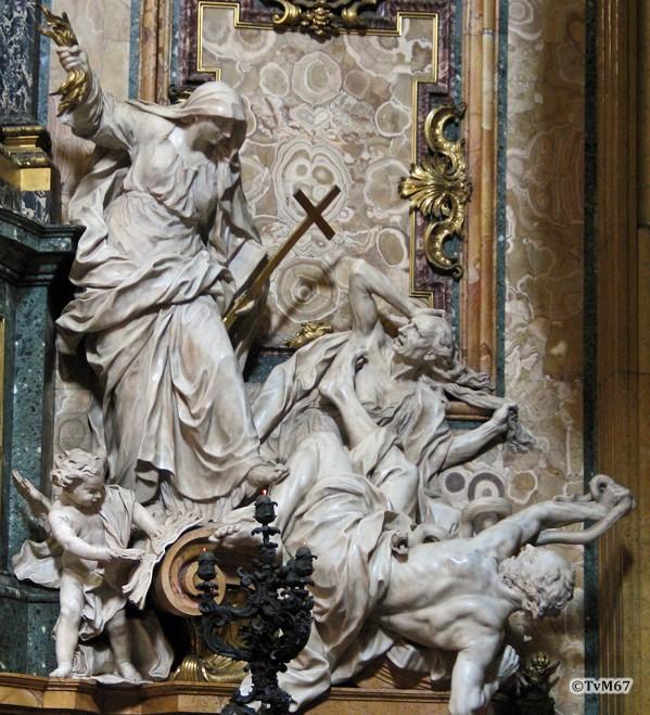 Roma, Chiesa del Gesù, trans li, Altare di Sant'Ignazio, re van altaar, Legros, Religie overwint de ketterij, 2006