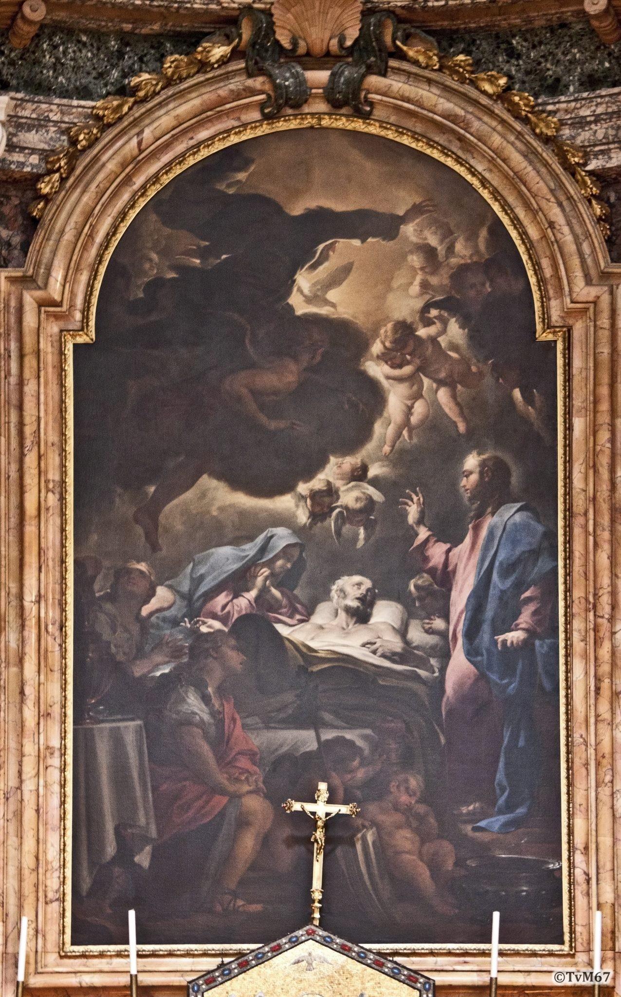 Roma, Chiesa di Sant'Ignazio, 2e k re, Cap Sacripanti, Altaar, Trevisani, Dood van Jozef,