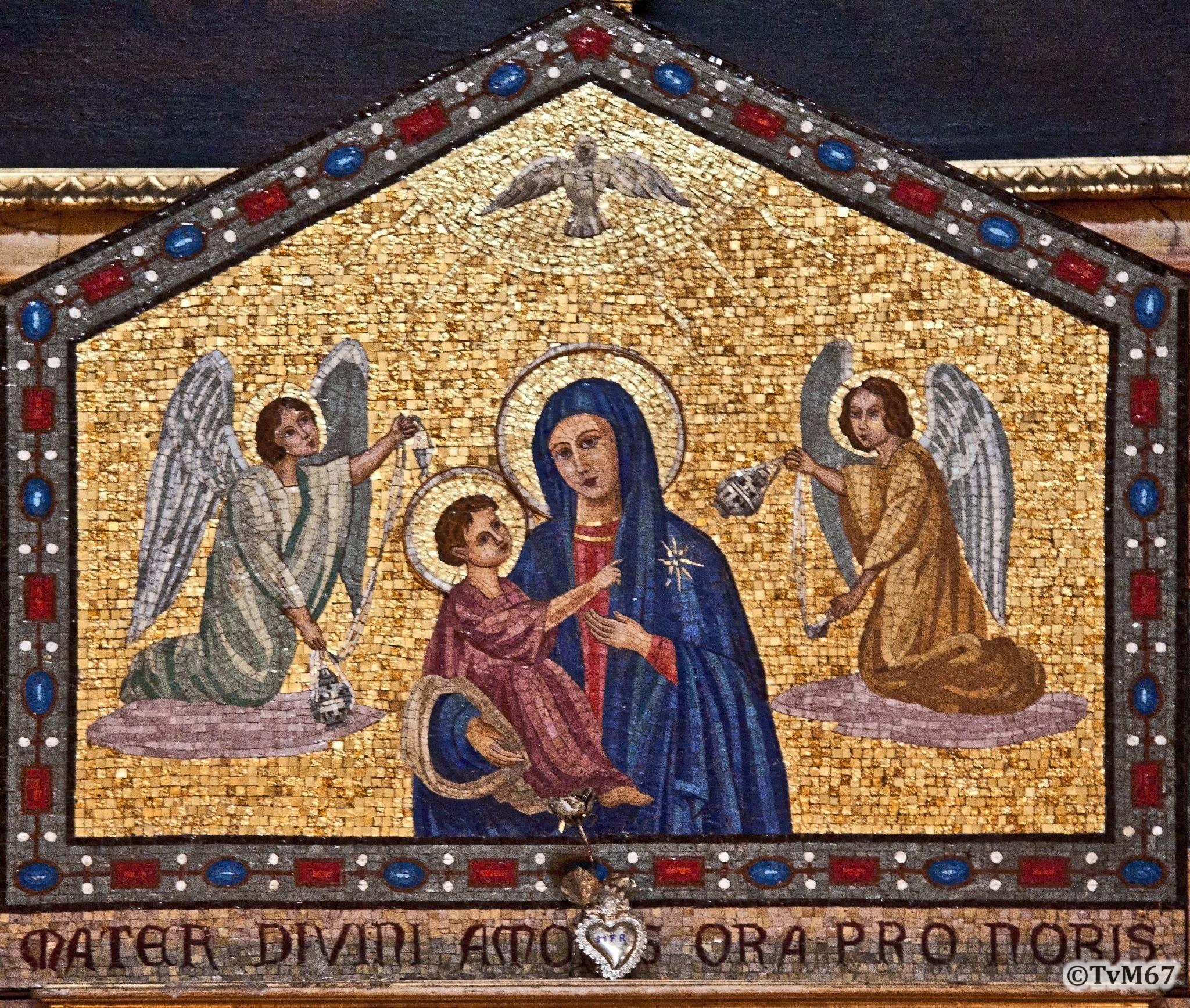 Roma, Chiesa di Sant'Ignazio, 2e k re, Cap Sacripanti, Altaar, mozaïek