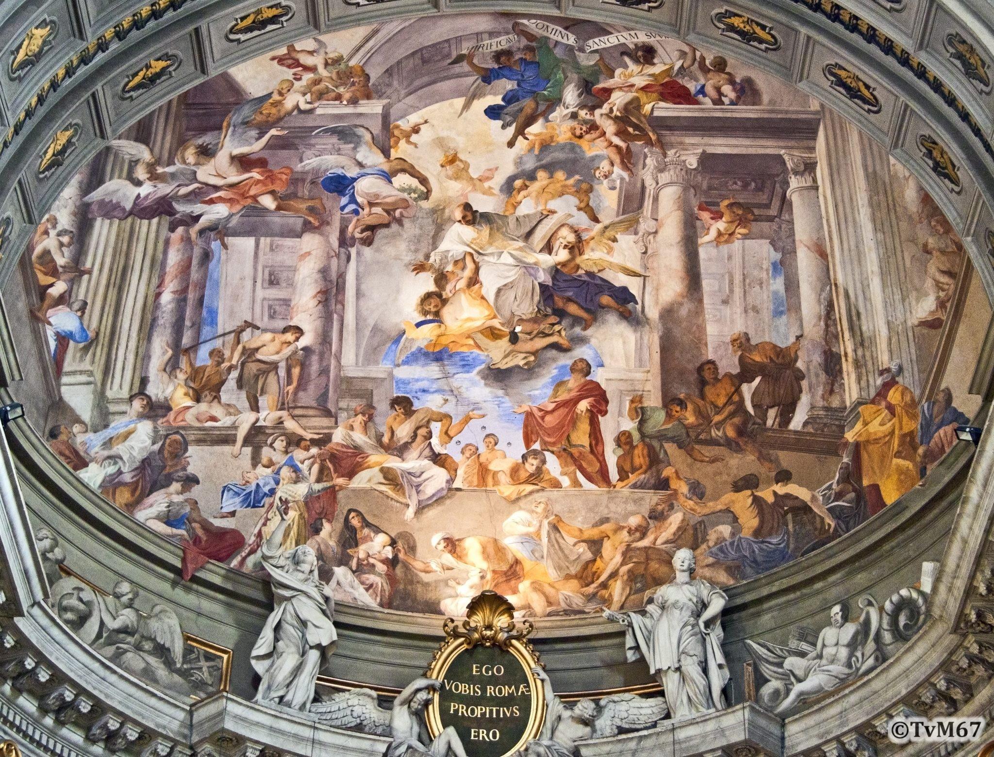 Roma, Chiesa di Sant'Ignazio, Apsis, Pozzo, Ignatius geneest de verderfelijke