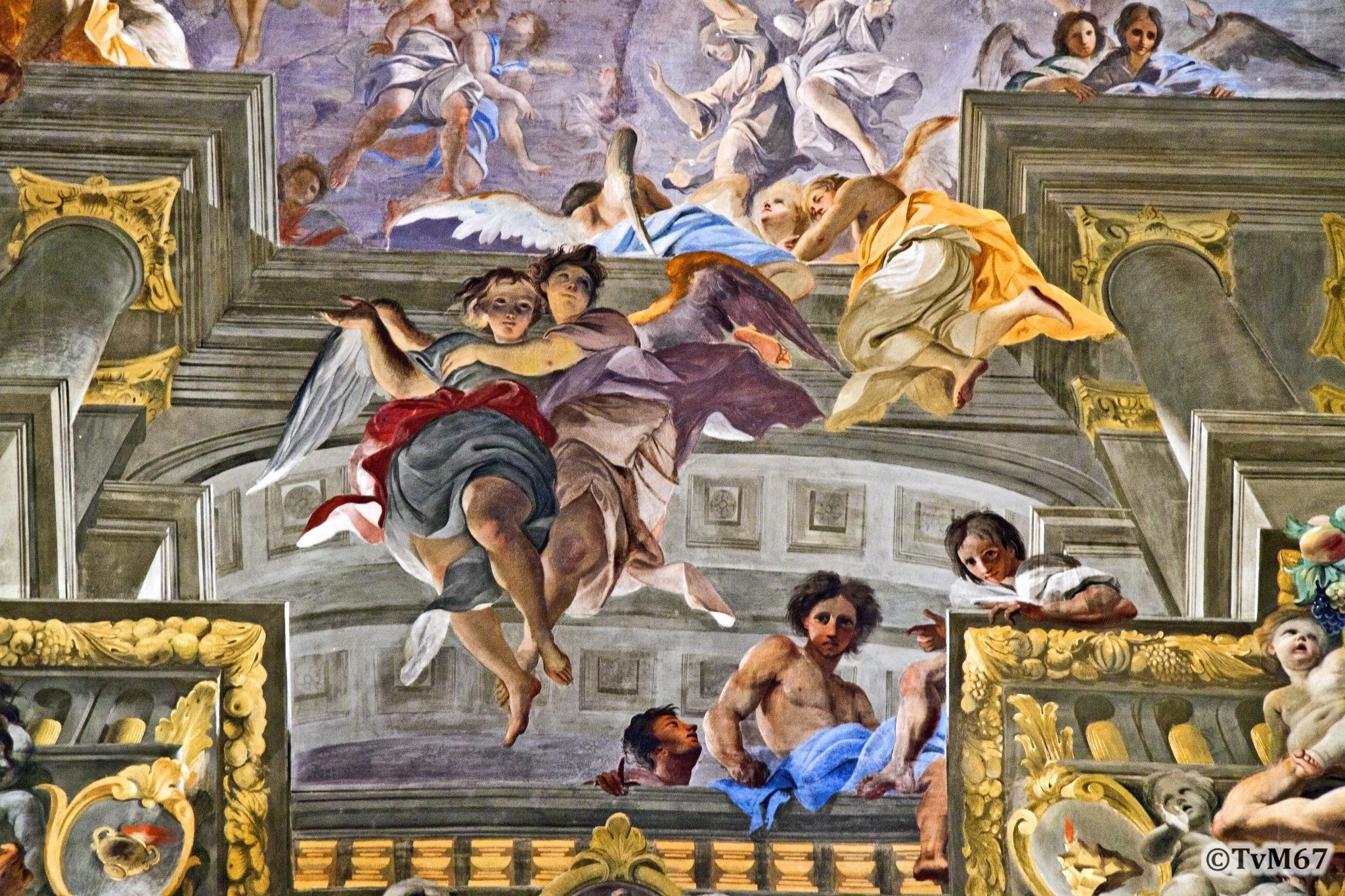 Roma, Chiesa di Sant'Ignazio, Middenschip, Pozzo, Plafond, detail 1, 2011