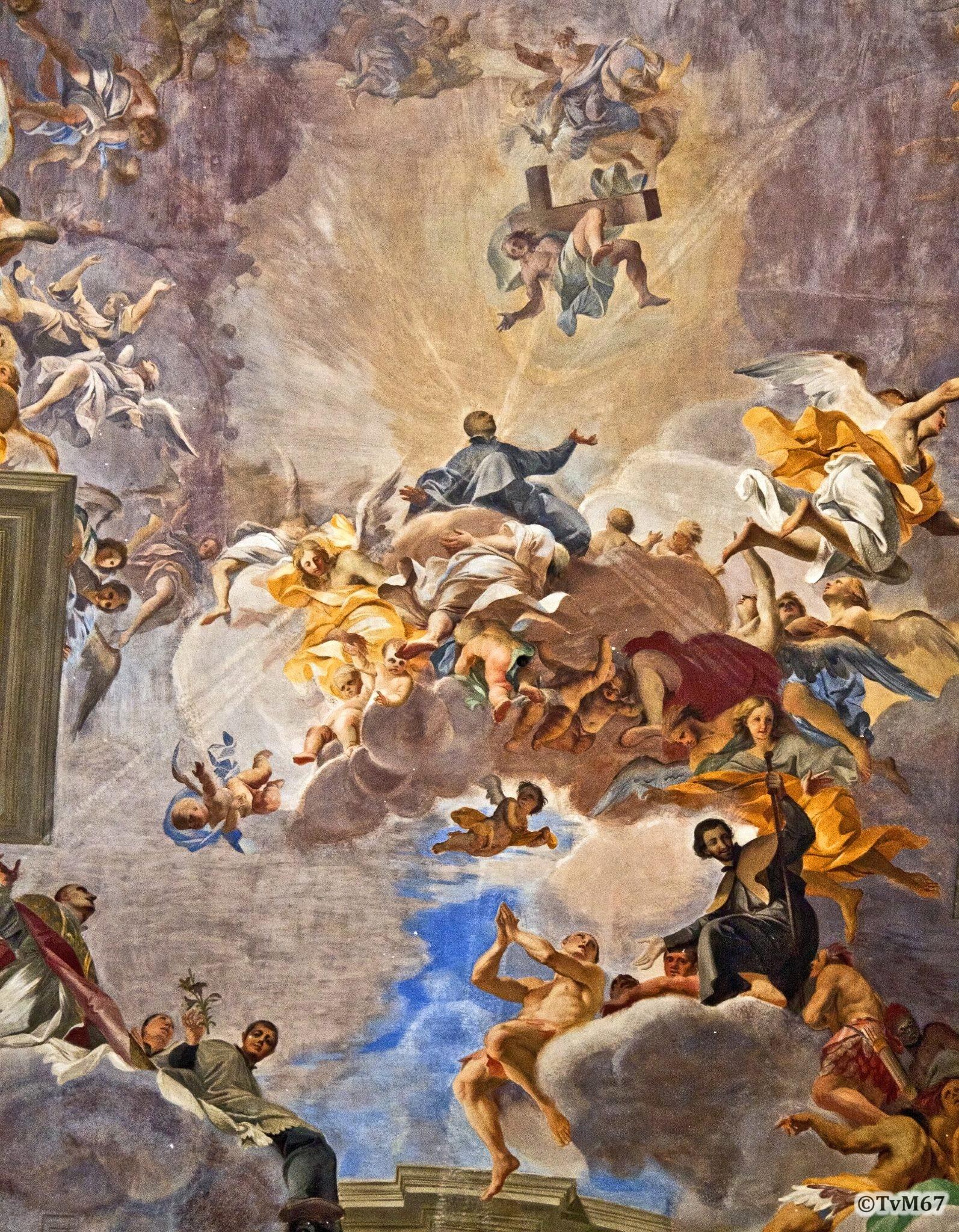 Roma, Chiesa di Sant'Ignazio, Middenschip, Pozzo, Plafond, detail mdiddendeel