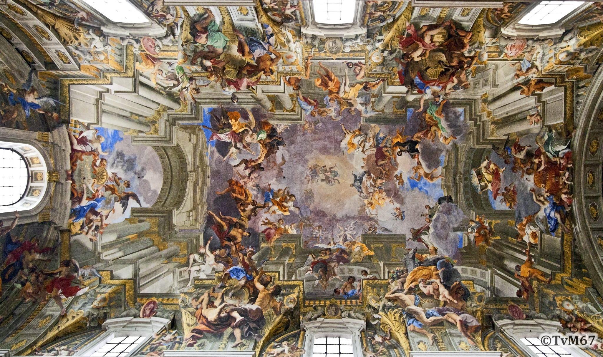 Roma, Chiesa di Sant'Ignazio, Middenschip, Pozzo, Plafond totaal