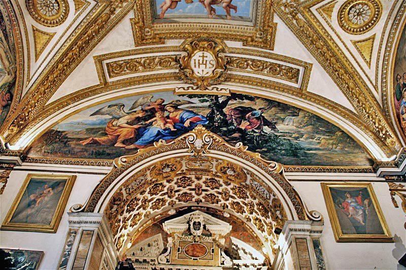 Roma, Chiesa di Sant'Ignazio, Sacristie, Rust op de vlucht naar Egypte (internet)