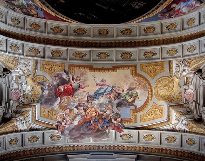 Roma, Chiesa di Sant'Ignazio, Cappella dell'Annunziata, Gewelf, Cappella dell'Annuziata, Pozzo en Mazzanti, Maria Hemelvaart