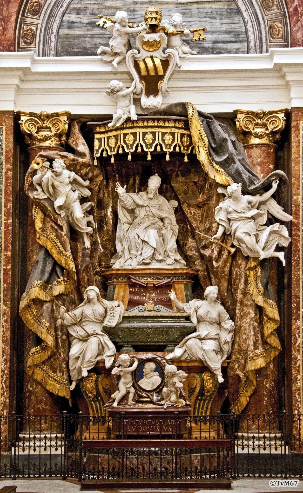 Cappella Ludovisi, Legros en Monnot, Monument van paus GregoriusXV en van kardinaal Ludovisi
