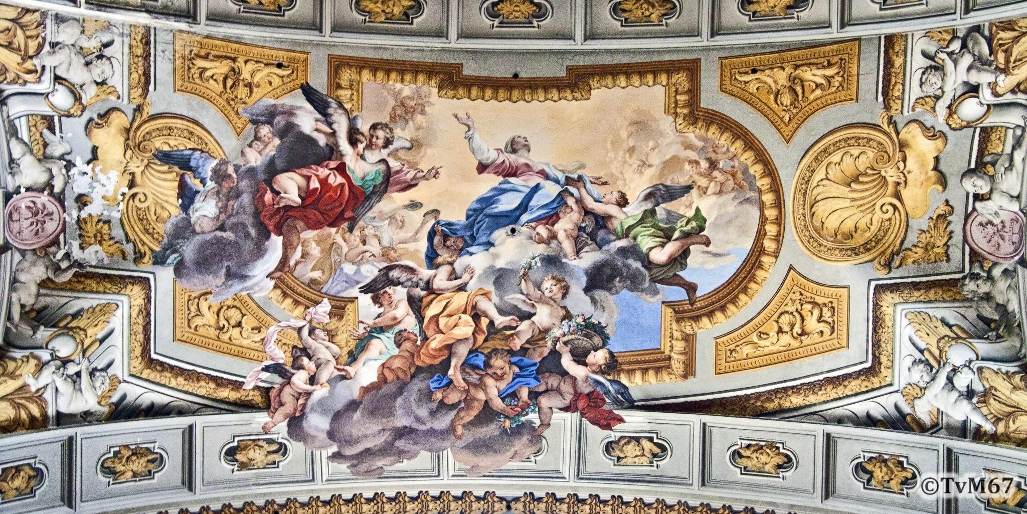 Roma, Chiesa di Sant'Ignazio, trans li, gewelfboog, Pozzo, Maria Hemelvaart, 2011